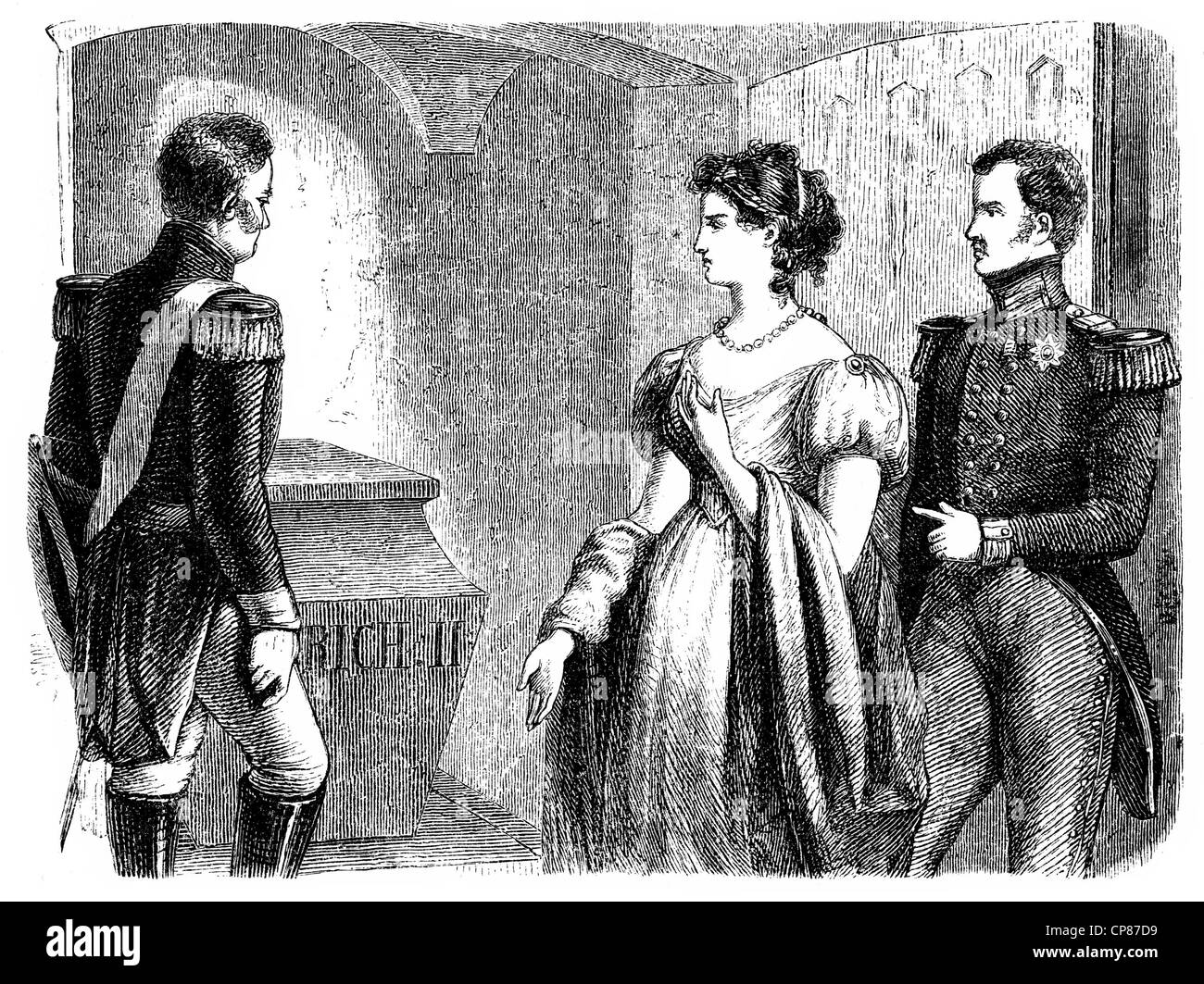 Emperor Alexander, Louise of Prussia and Frederick William III. at the tomb of Frederick the Great, historical engraving, - Stock Image