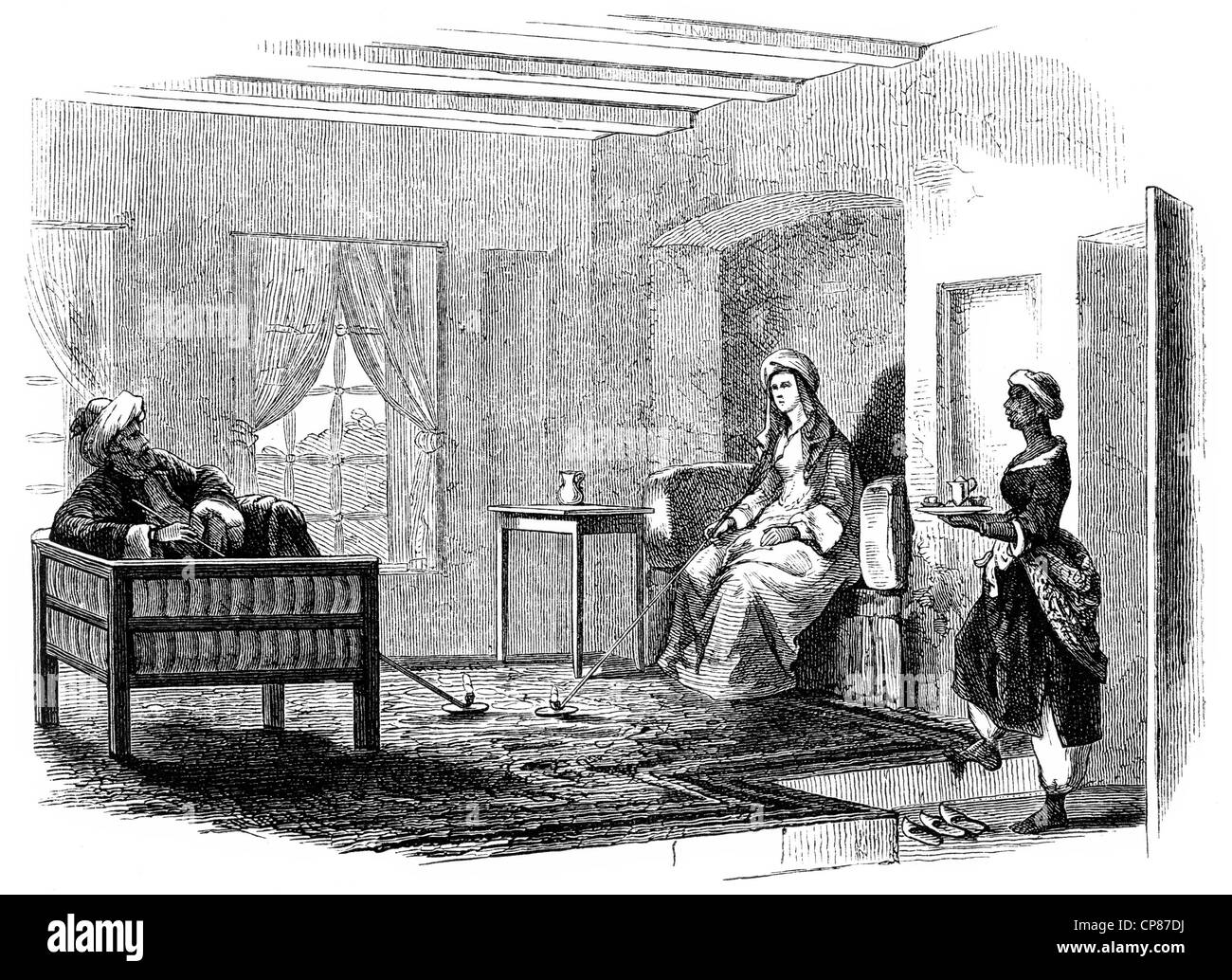 The reception room of Hester Lucy Stanhope, 1776 - 1839, English adventurer, she ruled an empire in the local Druze Stock Photo