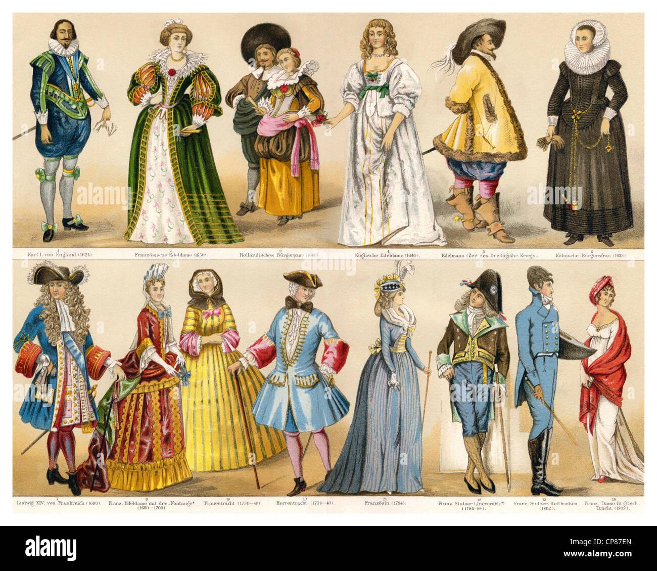 costumes, fashion, clothing, 17th, 18th and 19th Century, Historische, zeichnerische Darstellung, 19. Jahrhundert, - Stock Image