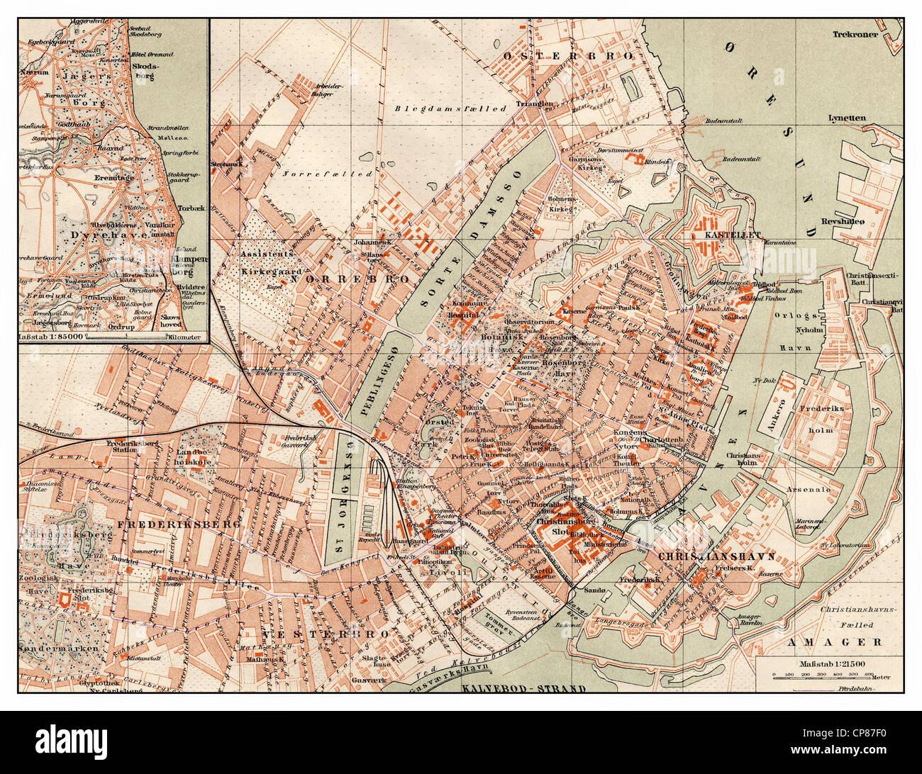 Historic map of Copenhagen, Denmark, 19th Century, Historische, zeichnerische Darstellung, Landkarte, Stadtplan - Stock Image