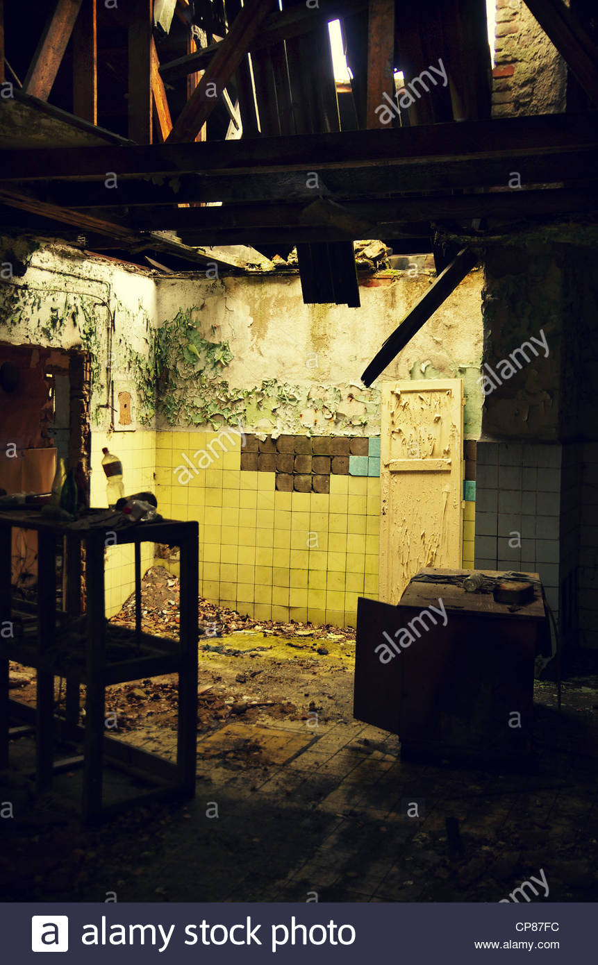 Ruined Interior (former Red Army garrison town) Stock Photo