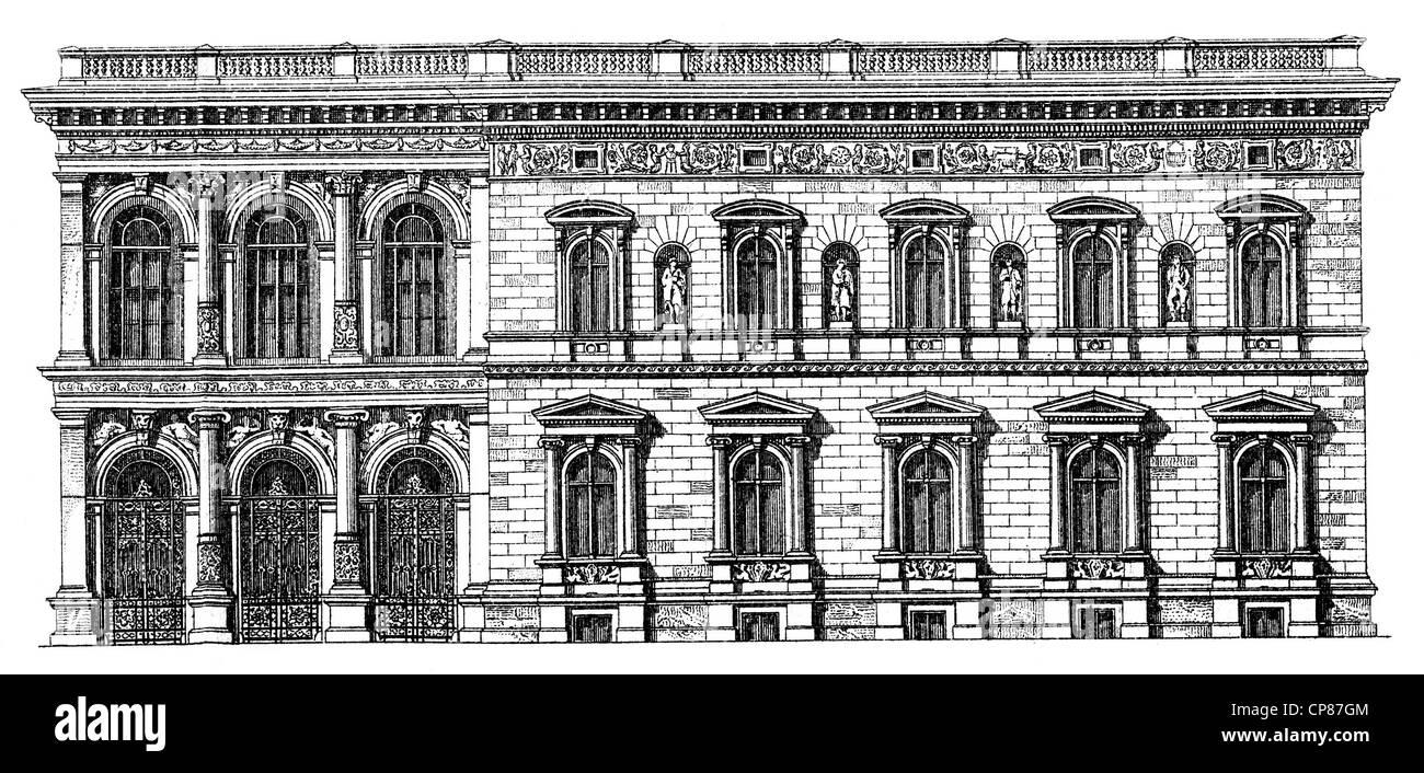 Historische, zeichnerische Darstellung Berliner Bauwerke, Palais Borsig, 19. Jahrhundert, aus Meyers Konversations - Stock Image