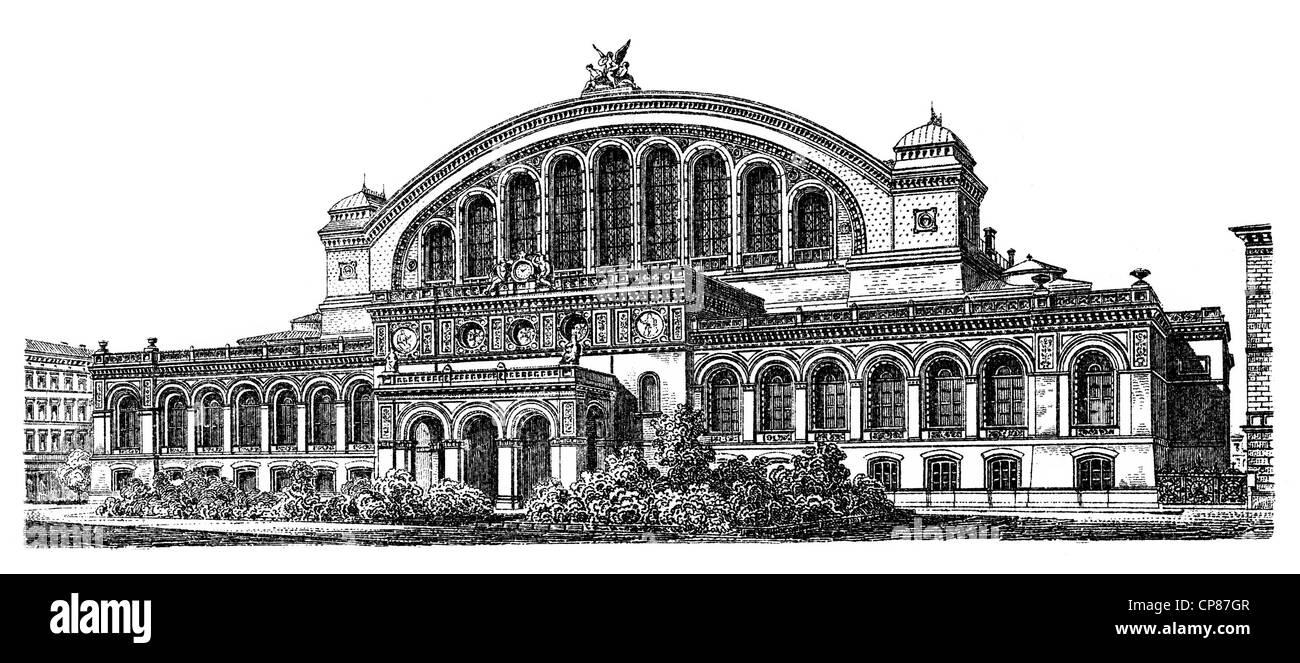 Historische, zeichnerische Darstellung Berliner Bauwerke, Anhalter Bahnhof, 19. Jahrhundert, aus Meyers Konversations - Stock Image