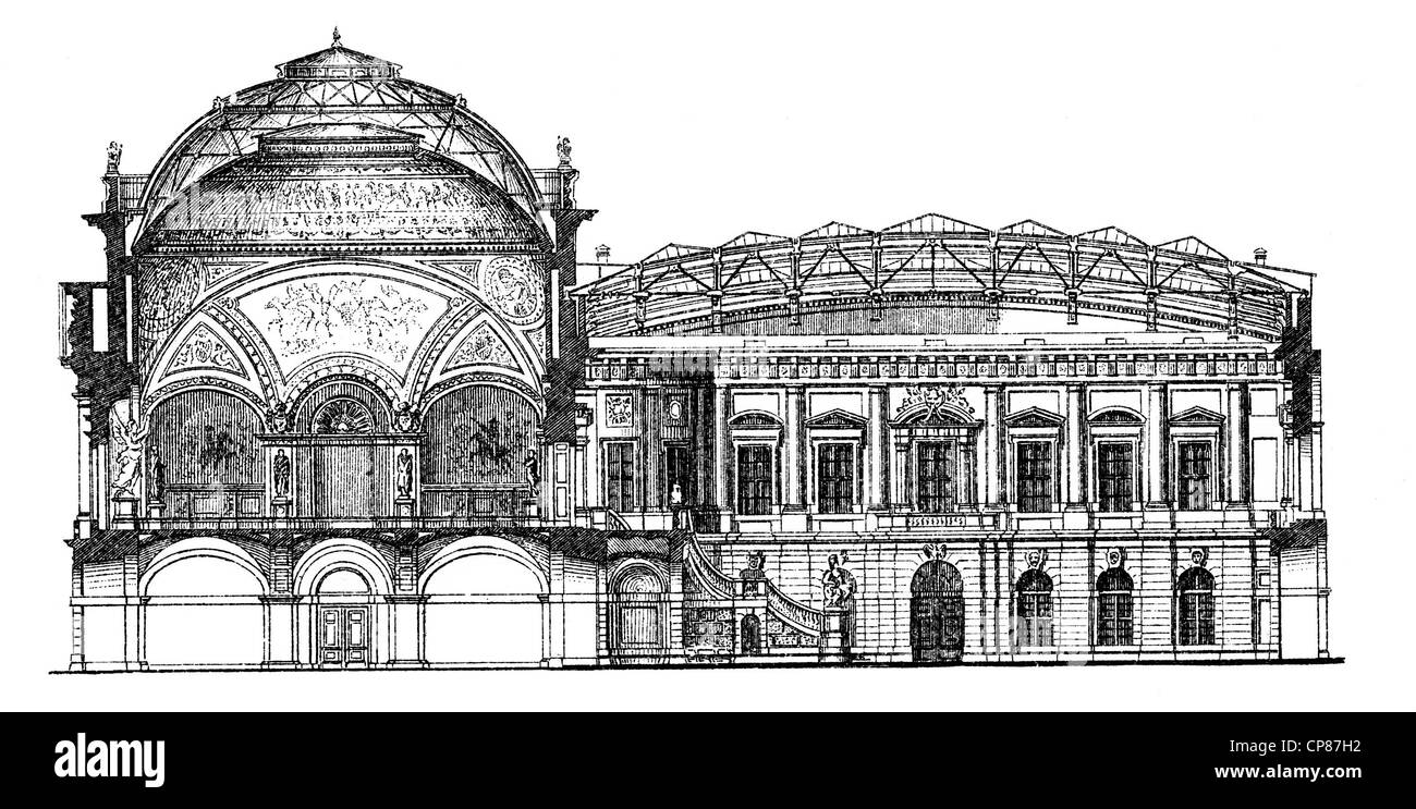 Historische, zeichnerische Darstellung Berliner Bauwerke, Zeughaus, heute das Deutsche Historische Museum, 19. Jahrhundert, - Stock Image
