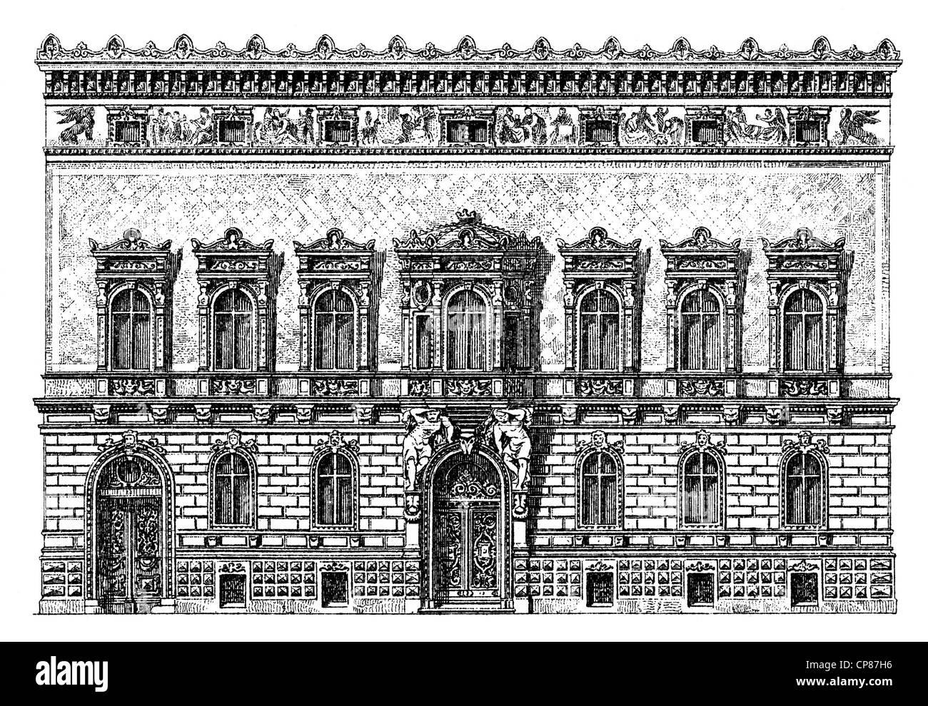 Historische, zeichnerische Darstellung Berliner Bauwerke, Palais Pringsheim, 19. Jahrhundert, aus Meyers Konversations - Stock Image