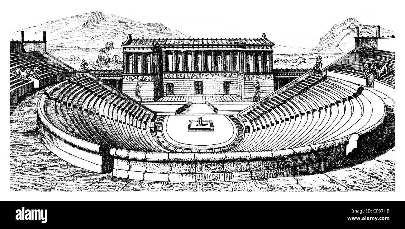 theatre in Segesta, Sicily, Italy, Historische, zeichnerische Darstellung, das Theater in Segesta, Sizilien, Italien, - Stock Image
