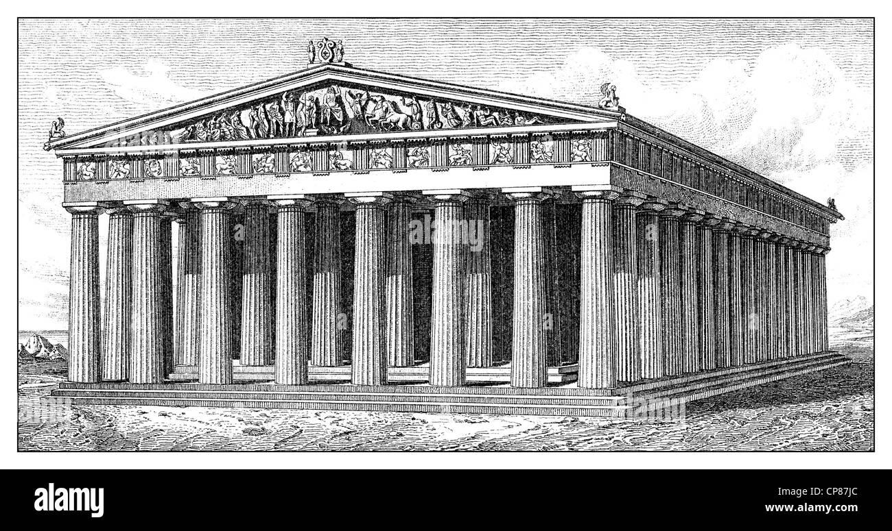 the Parthenon, dedicated to the Greek goddess Pallas Athena Parthenos on the Acropolis in Athens, Greece, 5th Century - Stock Image