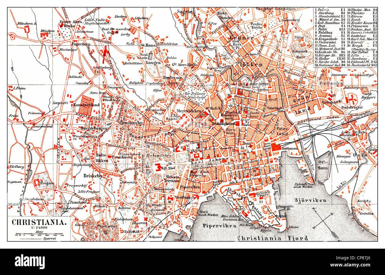 Historical map of Christiana, Copenhagen, Denmark, 19th Century, Historische, zeichnerische Darstellung, Stadtplan - Stock Image