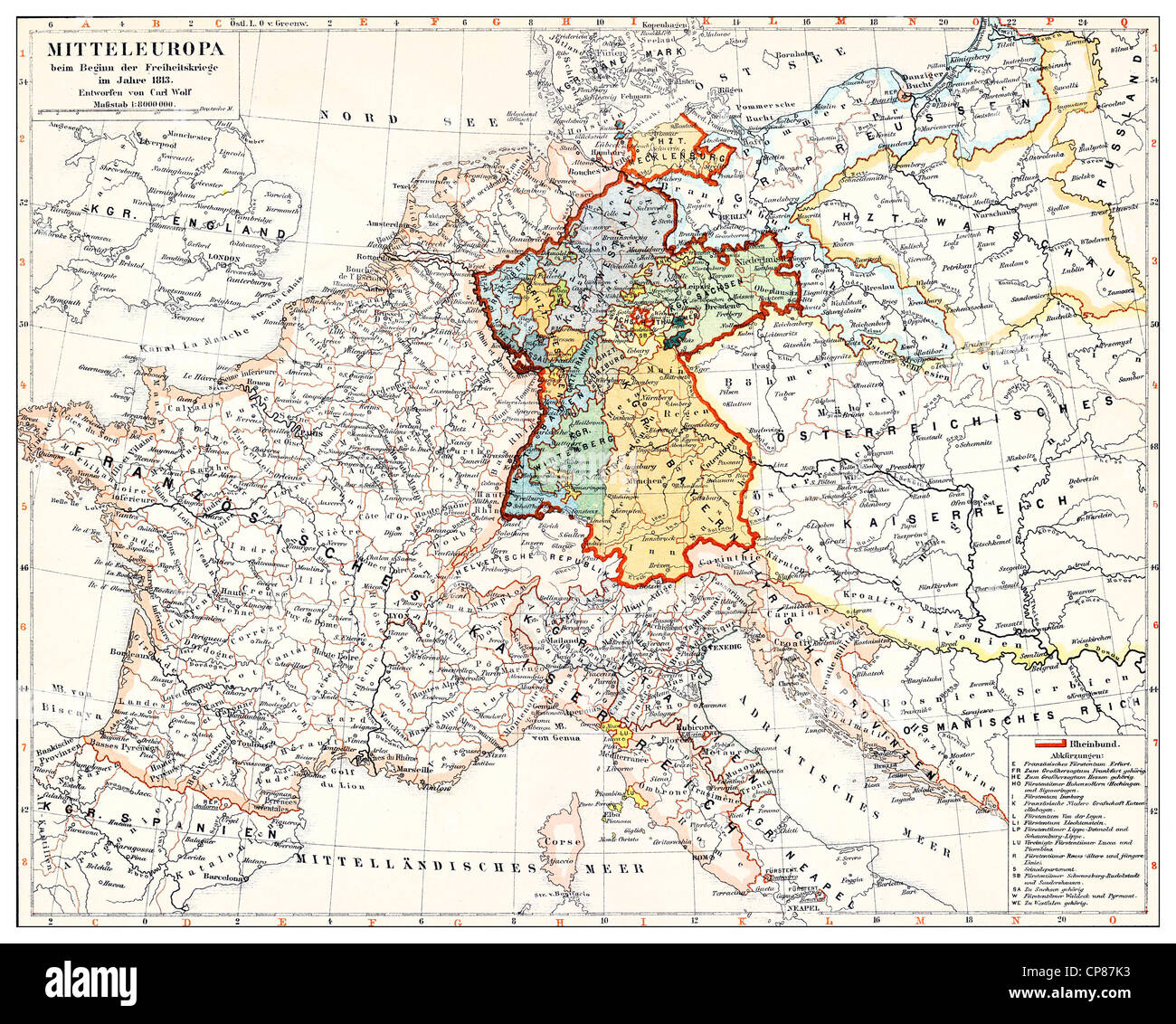 Historical map of Germany and Central Europe at the beginning of the ...