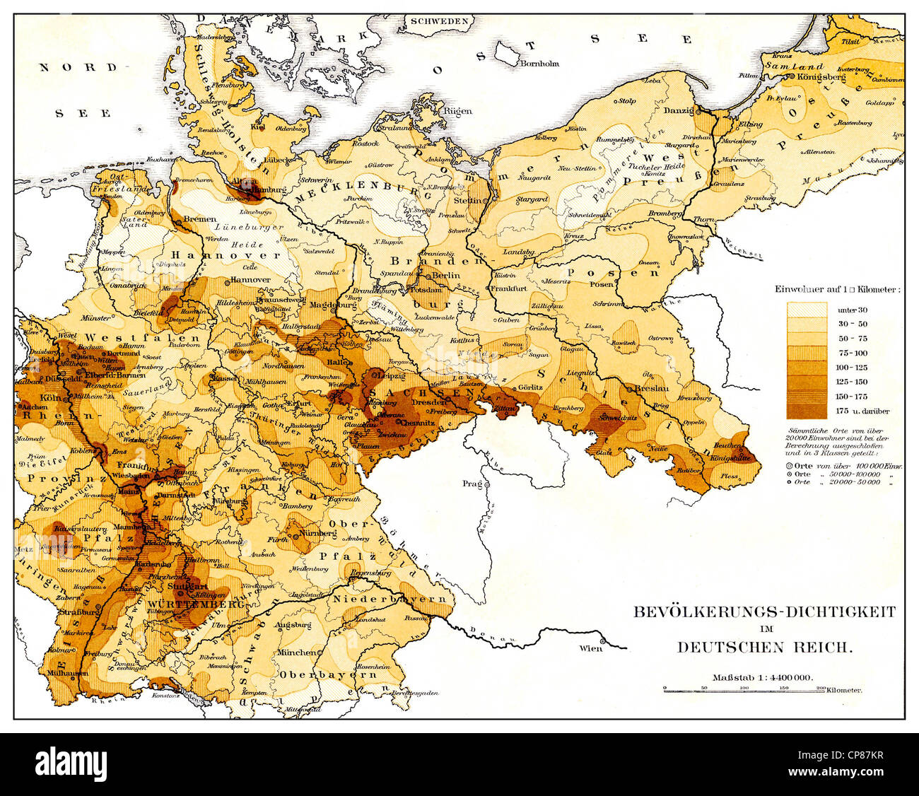 Historical map, population density in the German Reich, 19th Century, Historische, zeichnerische Darstellung, Landkarte, - Stock Image