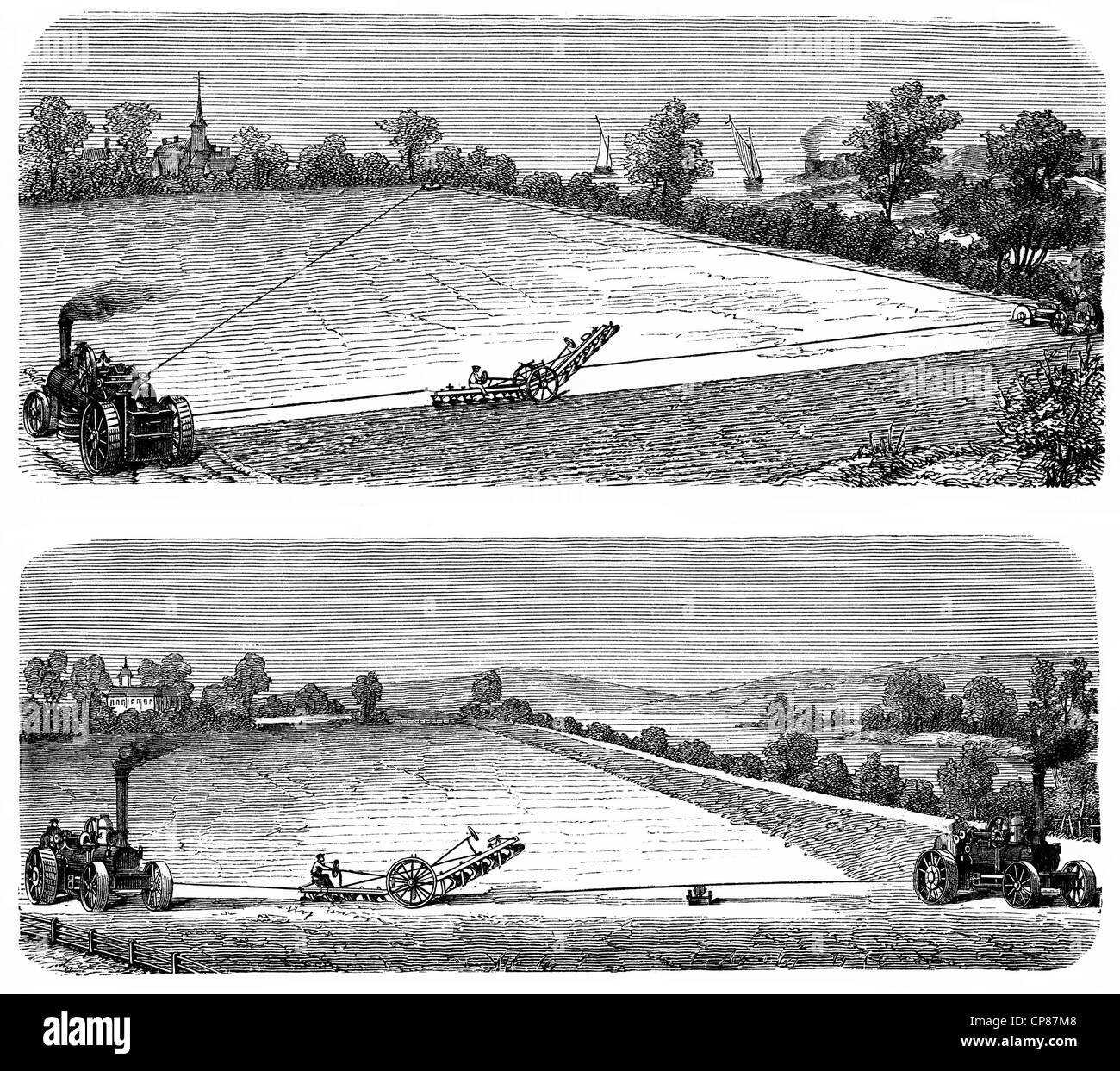 One and two-machine steam plough systems at work, agricultural tractor or locomotive powered by a steam engine, - Stock Image