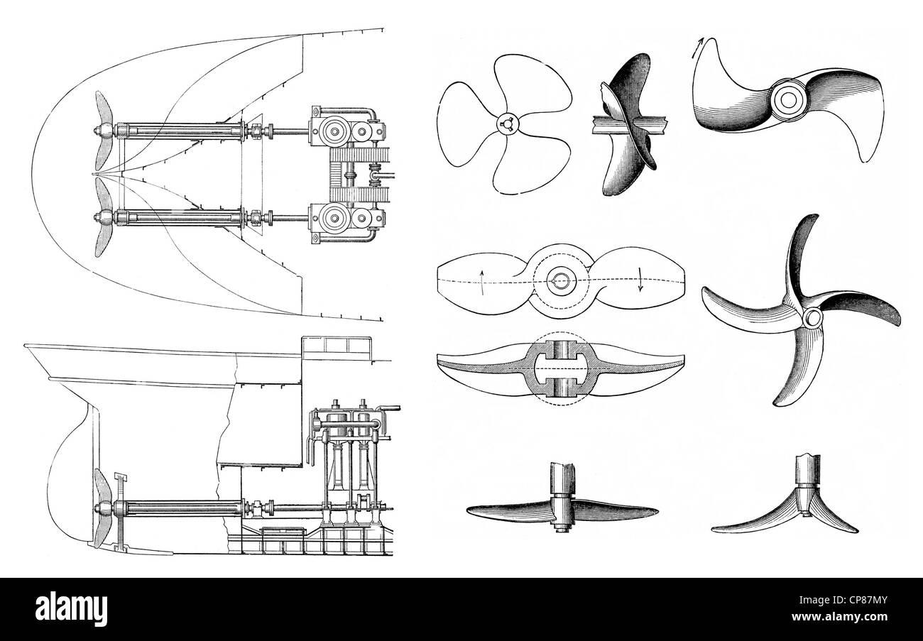 Drives of steam vessels or steamers by steam engines and propellers, 19th Century,Historische, zeichnerische Darstellung, - Stock Image