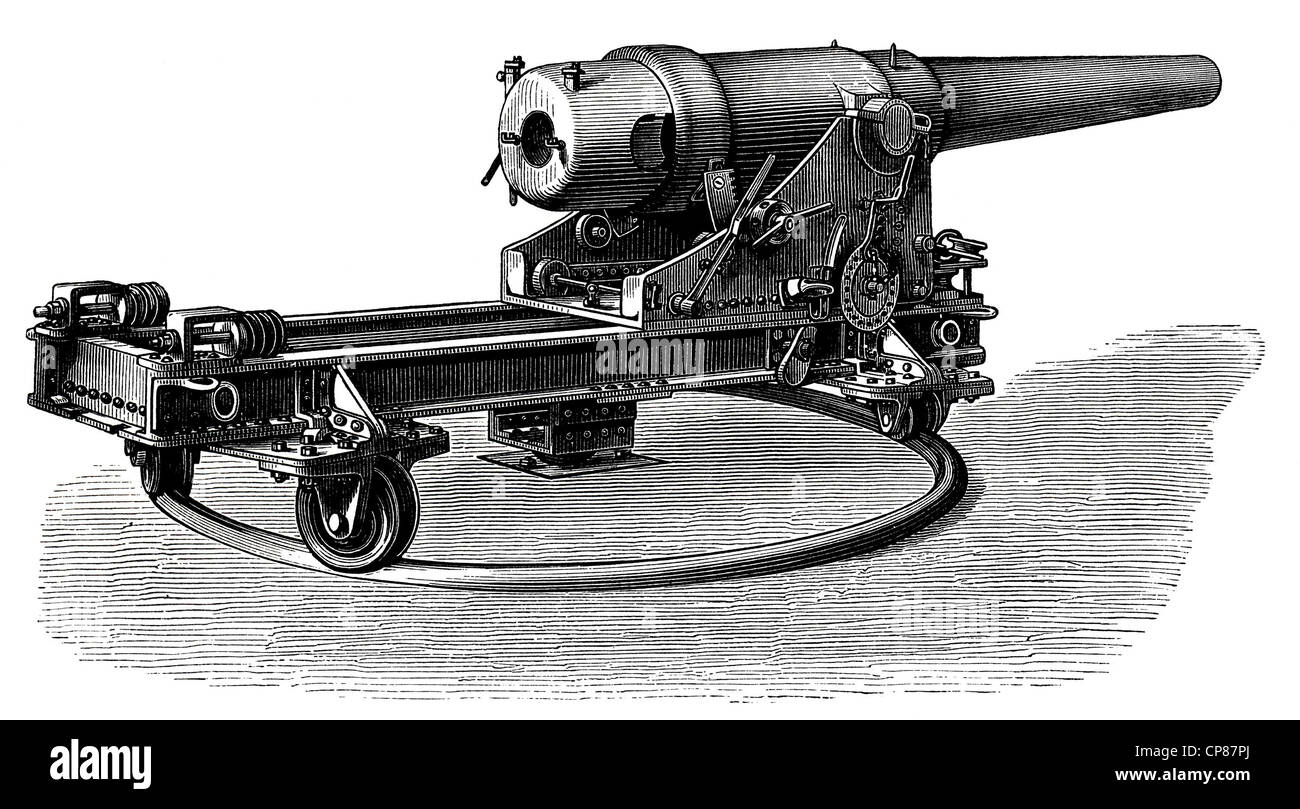 German marine turret cannon with an upper deck mount and a central pivot, 19th Century, Geschütze und Kanonen, - Stock Image