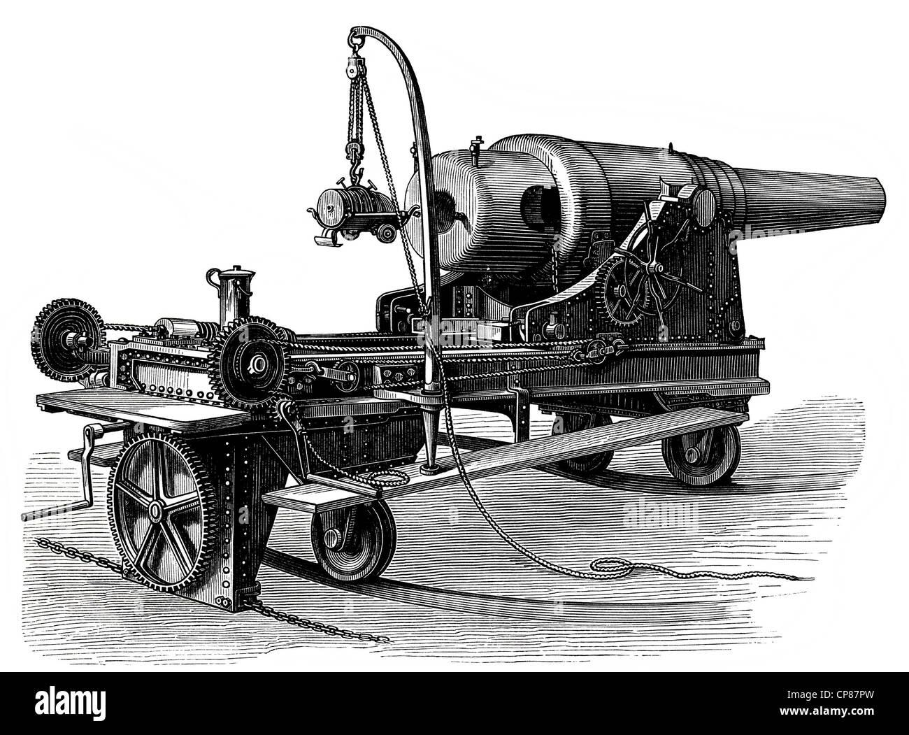 ring-mounted turret cannon from the German coastal artillery, 19th Century, Geschütze und Kanonen, Ringkanone - Stock Image