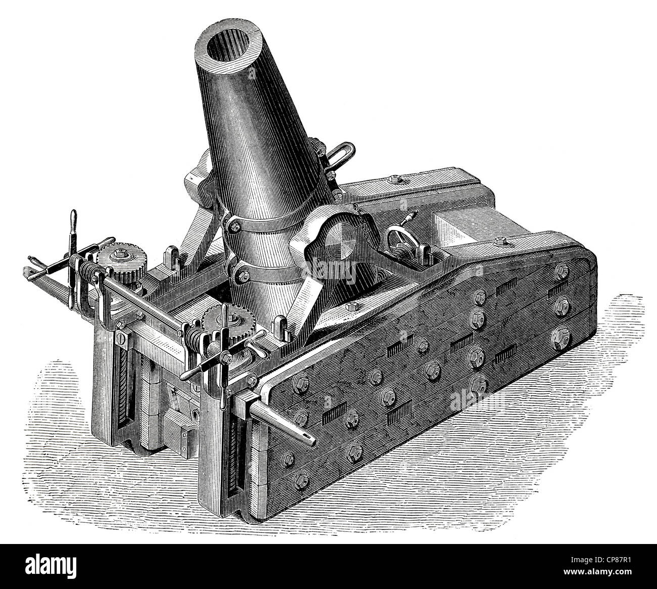 mortar of the German siege and fortress artillery in a mobile carriage, 19th Century, Geschütze und Kanonen, - Stock Image