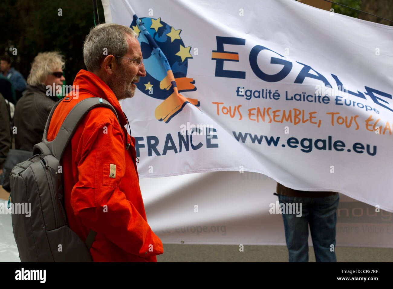 French supporters at the Secular Europe March, London, September 2011. - Stock Image