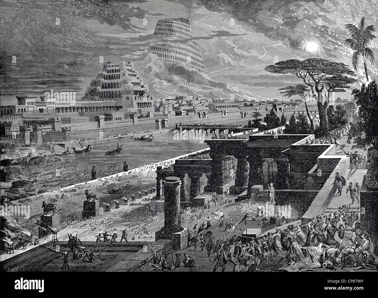 Tower of Babel, biblical tales from the Old Testament, historical engraving, 19th Century, Der Turmbau zu Babel, - Stock Image