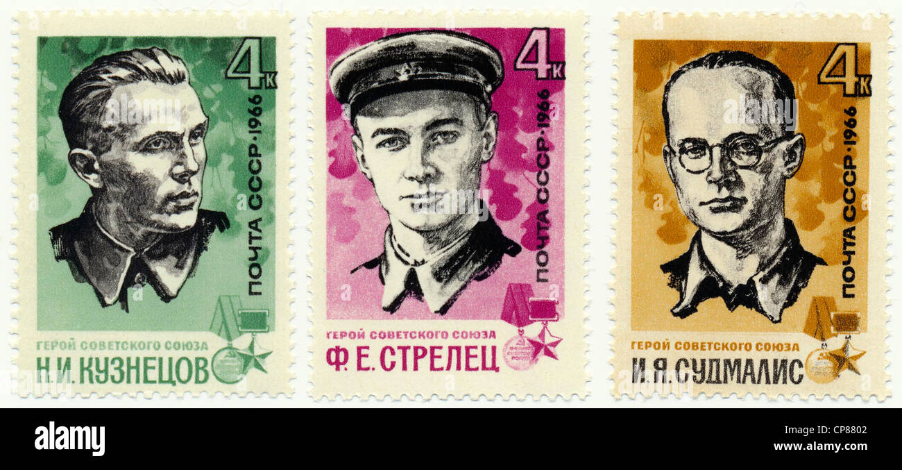 Historic postage stamps of the USSR, political motives, leaders of guerrilla groups, Historische Briefmarken, Leiter - Stock Image