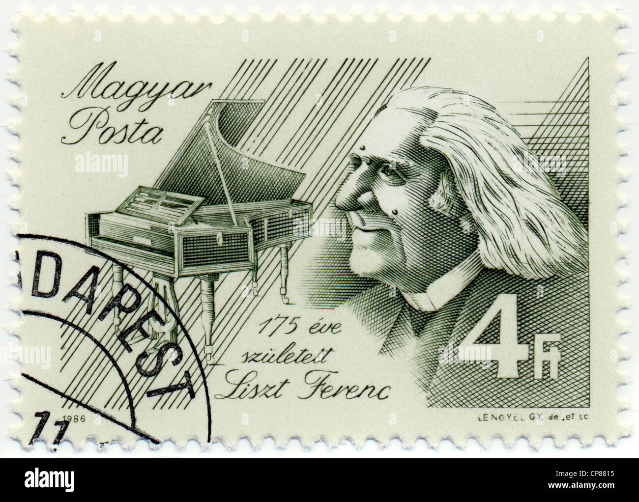 Historic postage stamps from Hungary, Historische Briefmarke, Franz Liszt, 1986, Ungarn, Europa - Stock Image