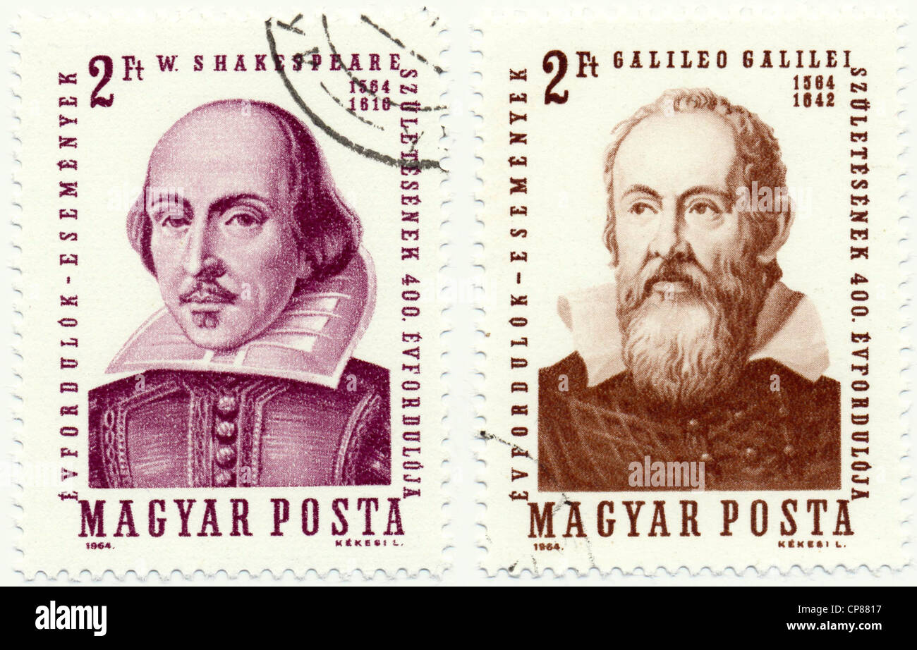 Historic postage stamps from Hungary, Historische Briefmarke, William Shakespeare, Galileo Galilei, 1964, Ungarn, - Stock Image