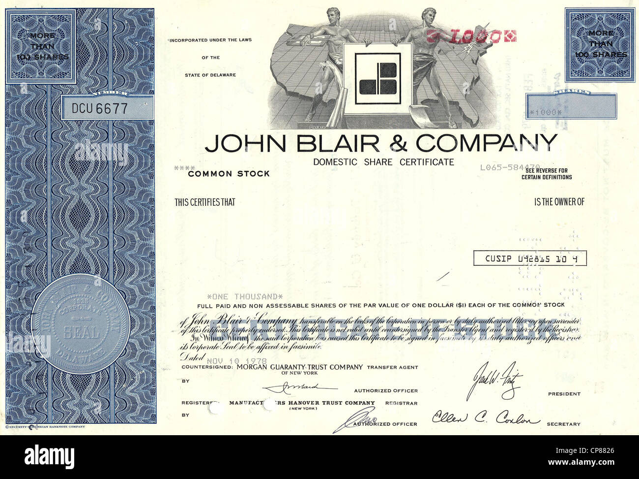 John Blair & Company, 1978, Delaware, USA, Historical stock certificate, television stations, post office - Stock Image
