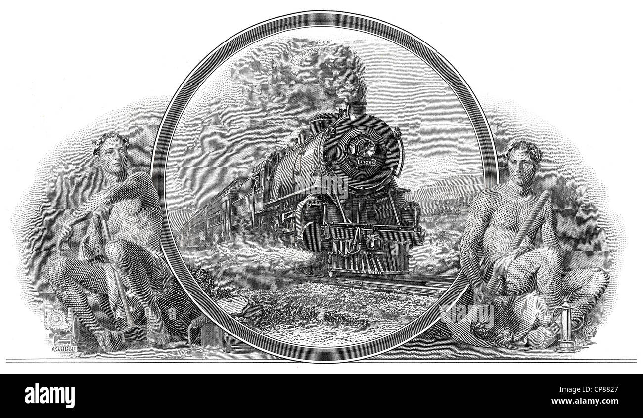 Boston and Maine Railroad, USA, 1956, Historical stock certificate, railroad company, detail of the vignette, allegorical - Stock Image