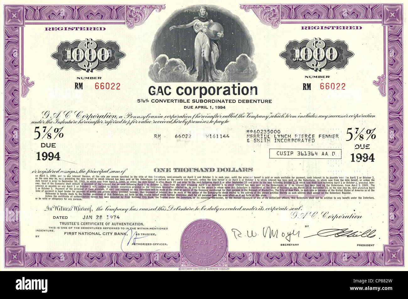Historical stock certificate, mining company, GAC Corporation, Golden Arrow Resources Corporation, Pennsylvania, - Stock Image