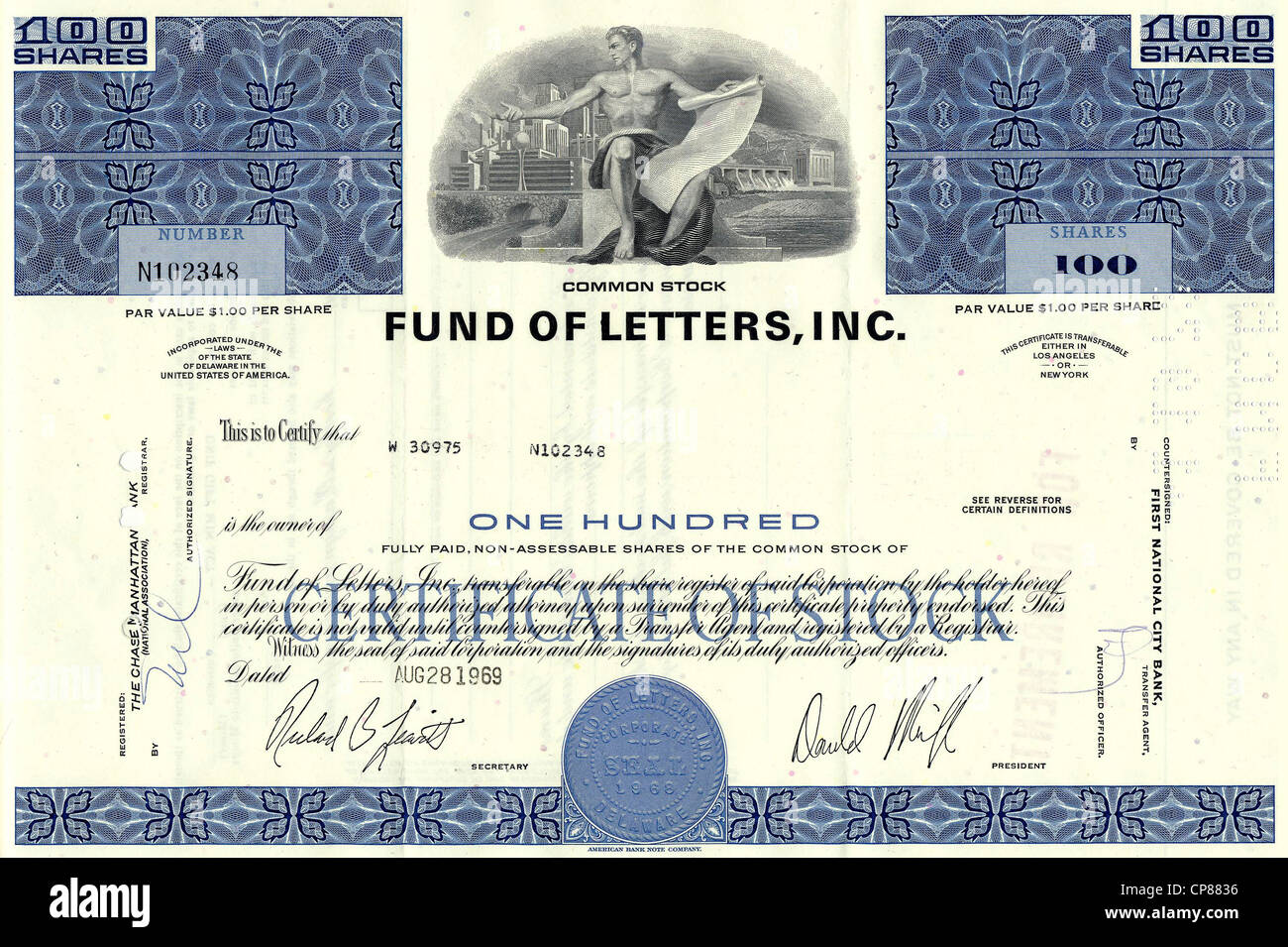 Historical stock certificate, banking and finance sector, Fund of Letters, Inc., 1969, Los Angeles, California, - Stock Image