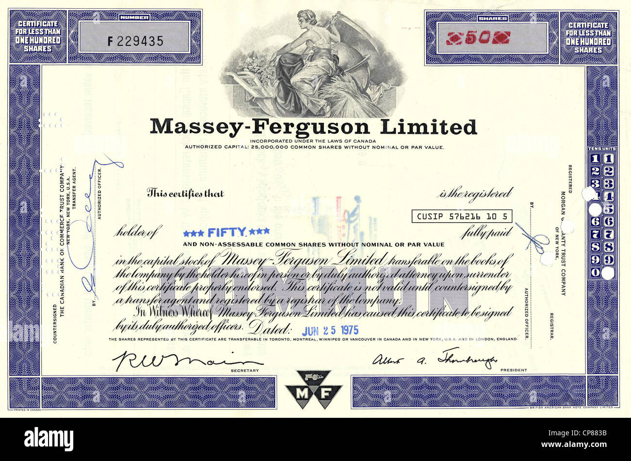 Historical Canadian stock certificate, 1975, Massey Ferguson, a manufacturer of agricultural machinery, tractors - Stock Image