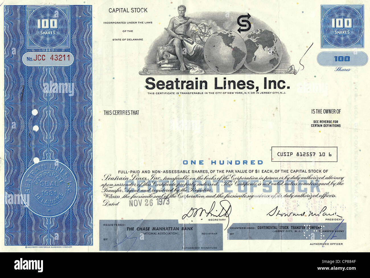 Historical stock certificate, American shipping company, trans-Atlantic container transport service, transportation - Stock Image