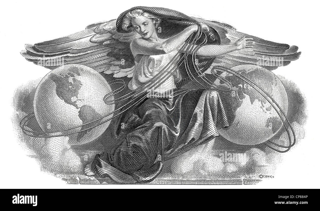 Historical stock certificate, detail of the vignette, allegorical representation of a woman with wings between two - Stock Image