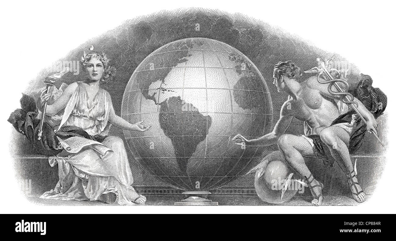 Historical stock certificate, detail of the vignette, allegorical representation of the Olympic gods Demeter and - Stock Image