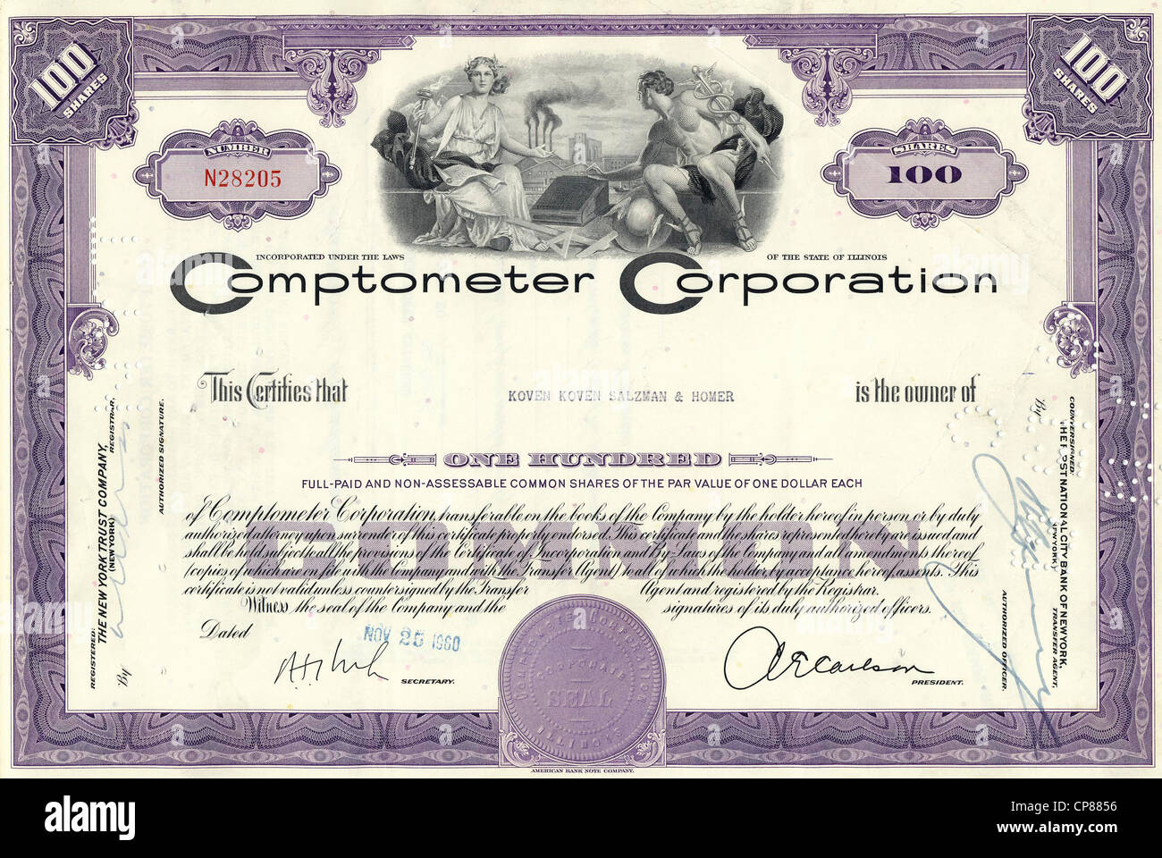 Historical stock certificate, the Greek gods Olympia and Hermes sitting with a mechanical adding machine in front - Stock Image