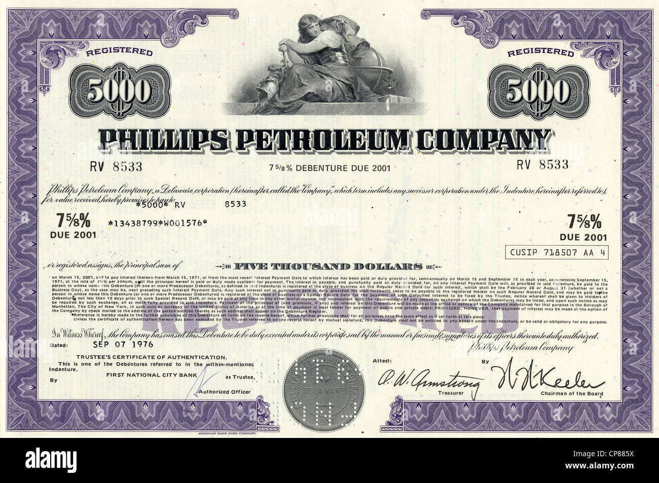 Historical Stock Certificate Of An Oil Gas And Energy Company Stock