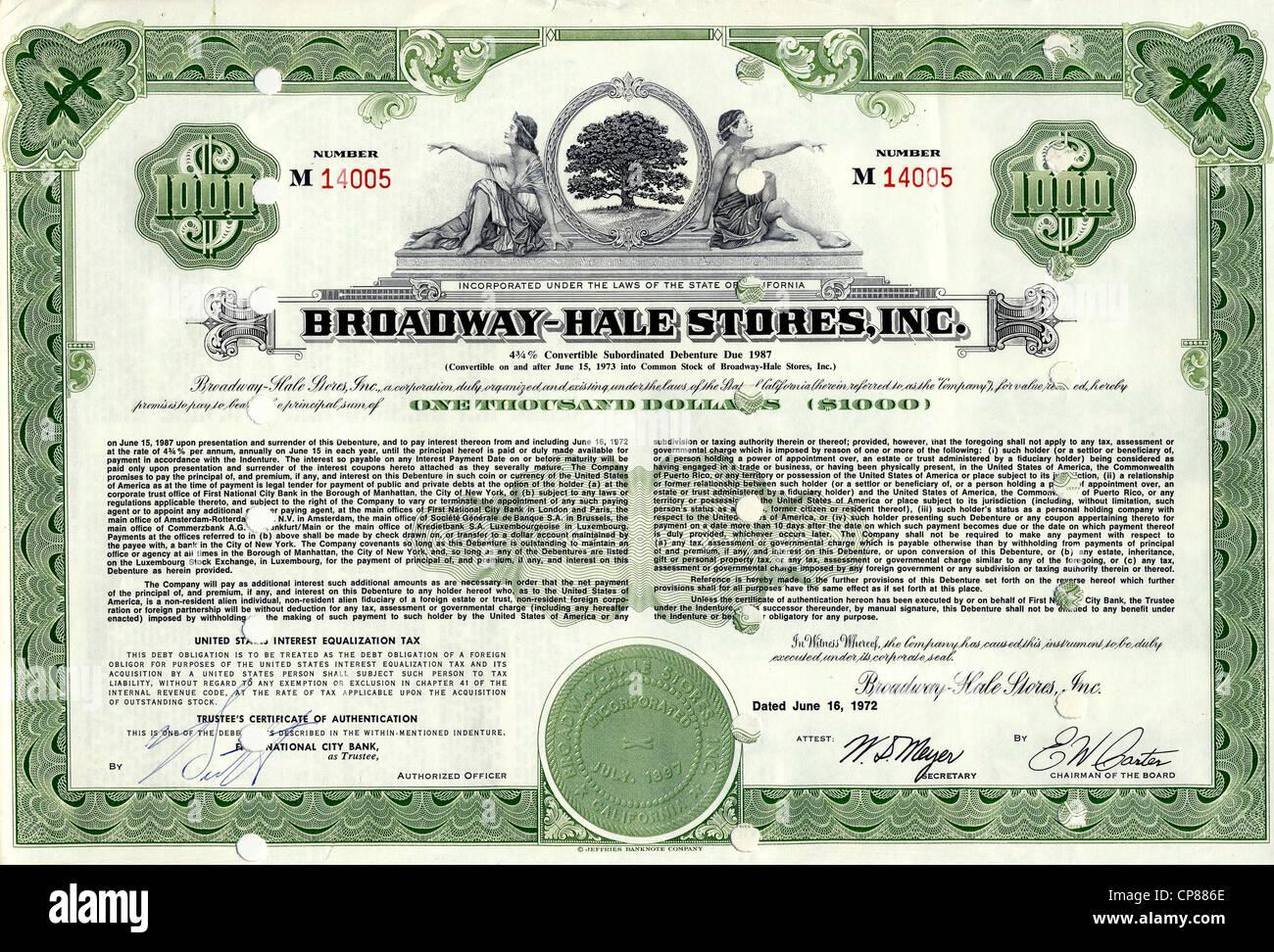 Historische Aktie, Allegorische Darstellung, Supermarktkette, Hale Brothers fusionierte mit Broadway Department - Stock Image