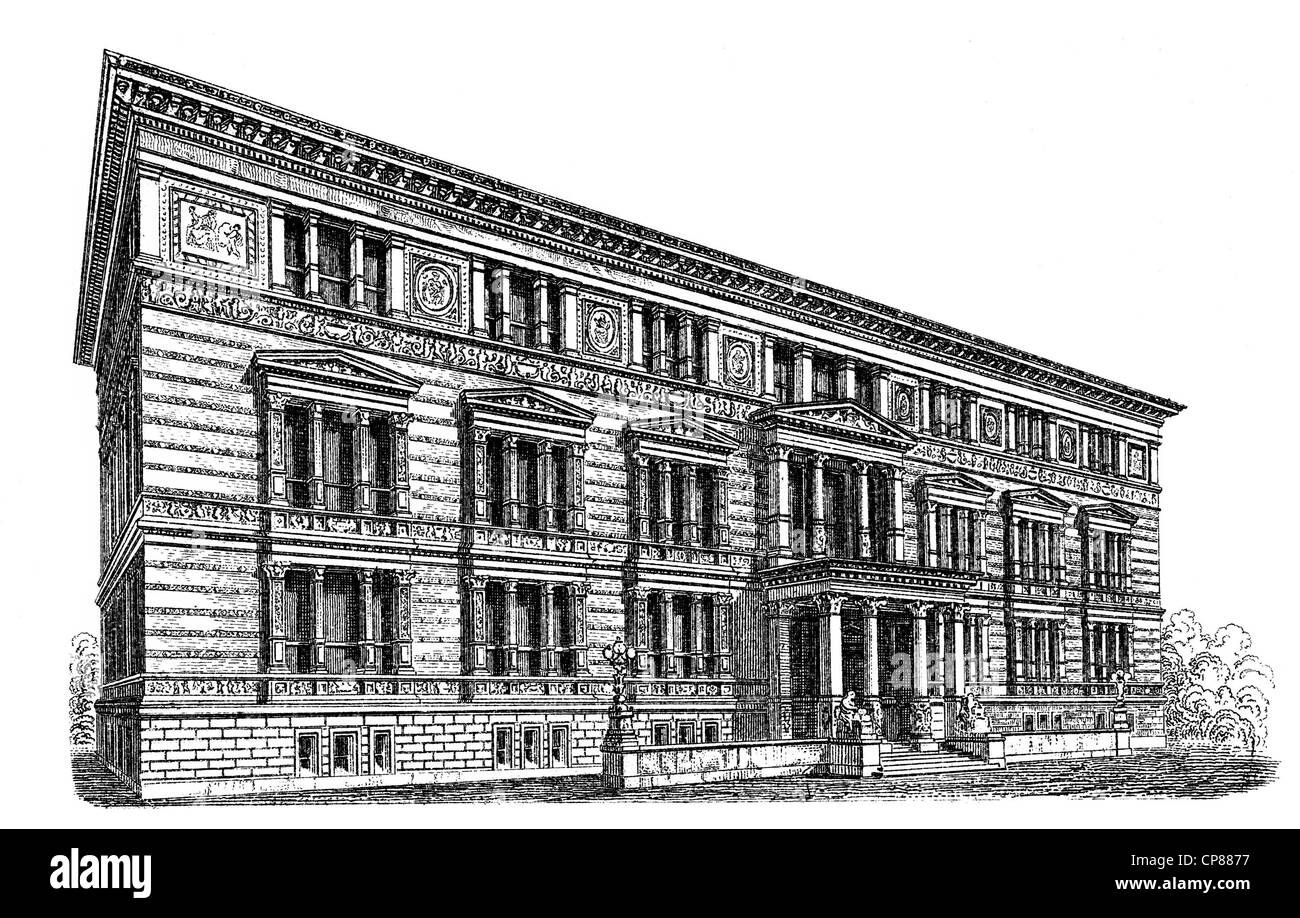 Historische, zeichnerische Darstellung Berliner Bauwerke, Das Kunstgewerbemuseum Berlin für europäisches - Stock Image