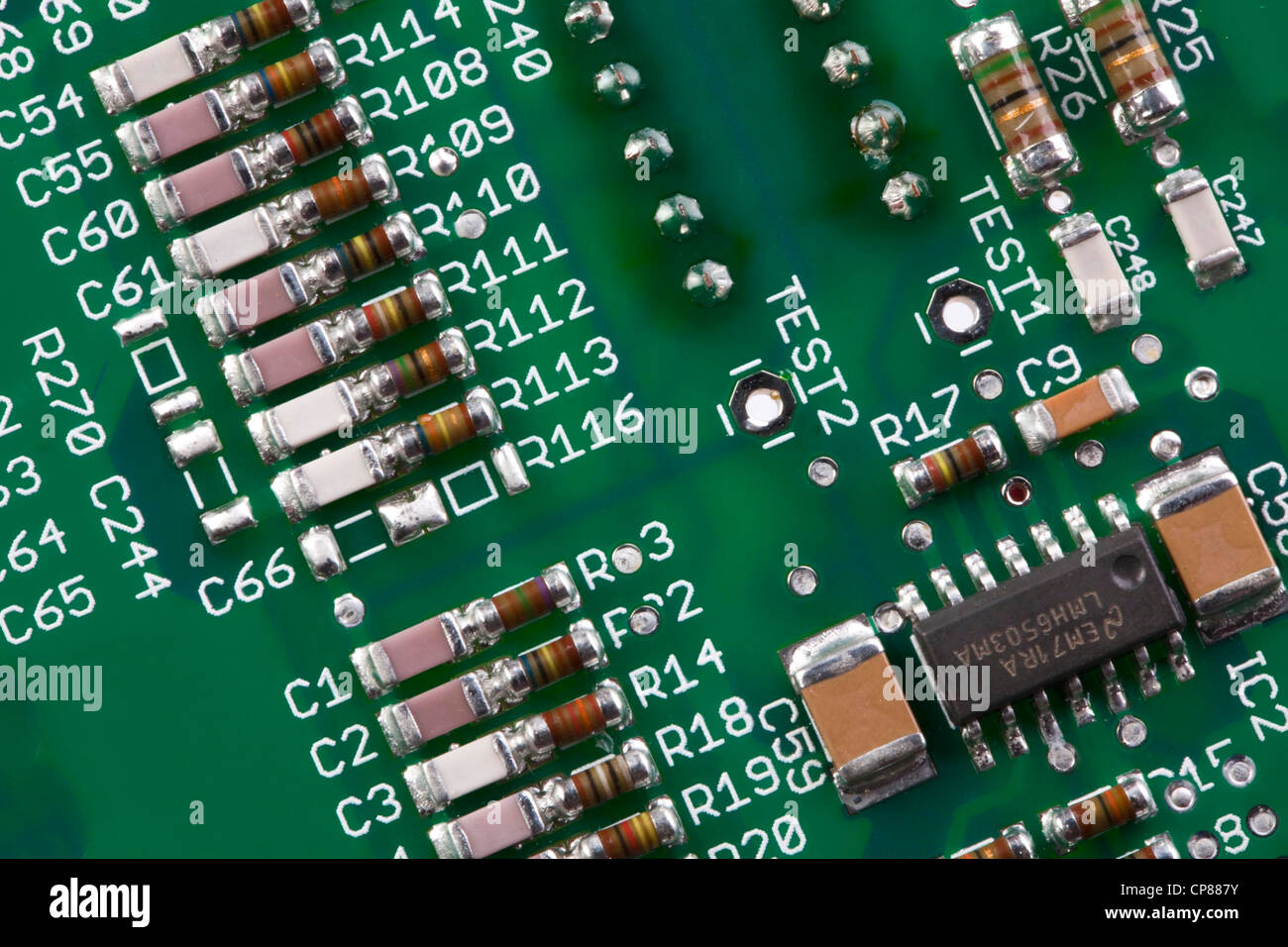 Detail of a computer circuit board, Detail einer Computer-Platine - Stock Image