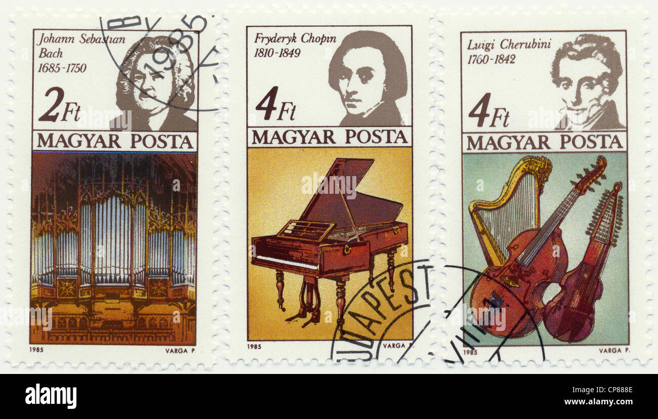 Historic postage stamps from Hungary, Historische Briefmarke, Johann Sebastian Bach, Frederic Chopin, Luigi Cherubini, Stock Photo