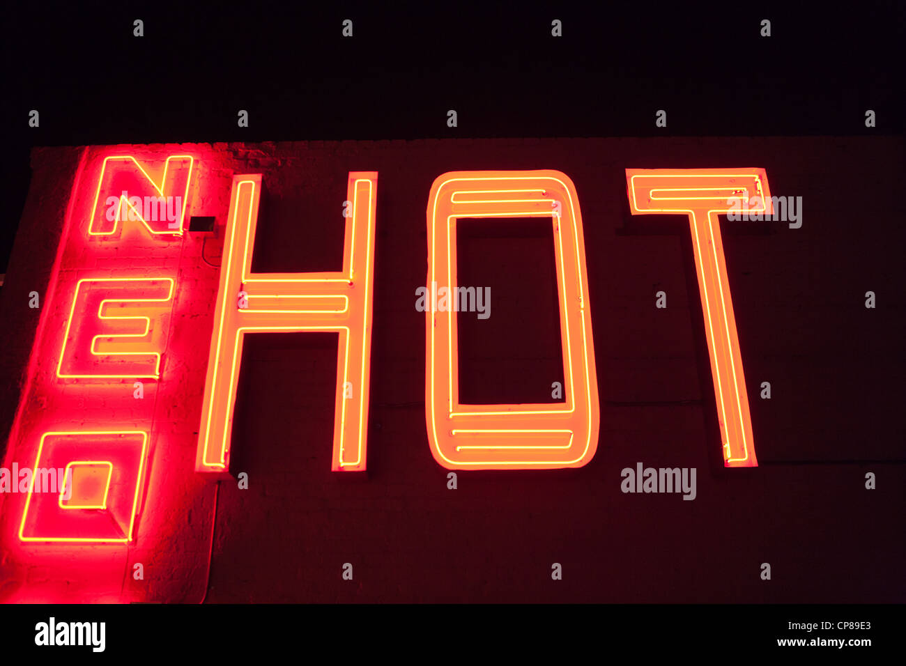 Neon sign HOT - Stock Image