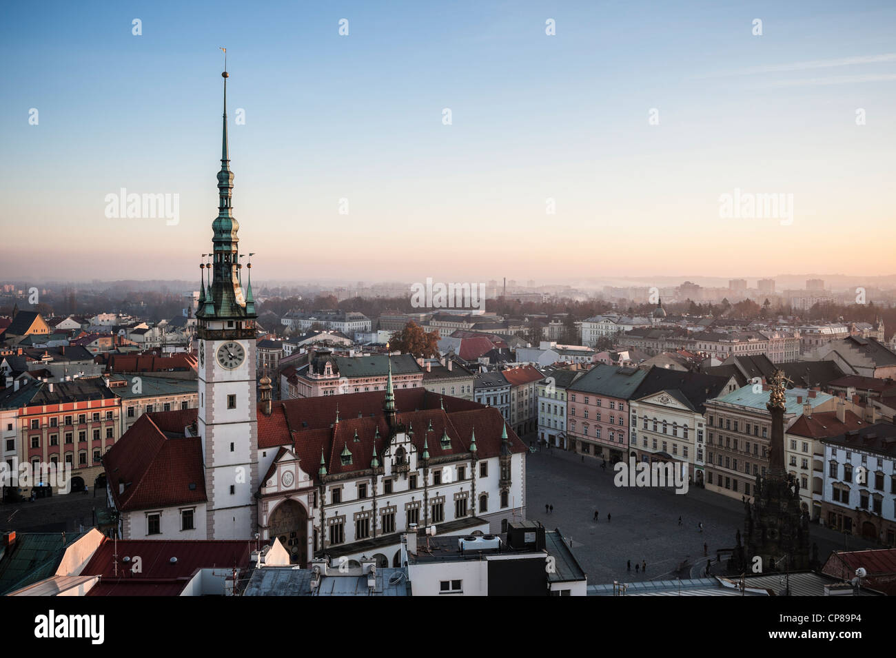 Rooftop view from Church of Saint Maurice to Horni Nam sqaure and Olomoucká radnice, Town Hall building, Olomouc, - Stock Image