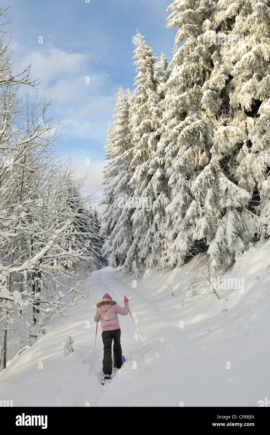 France, Haute Saone, Belfahy, hiking with snowshoes in the forest, altitude 950 m, the highest village in Haute - Stock Image