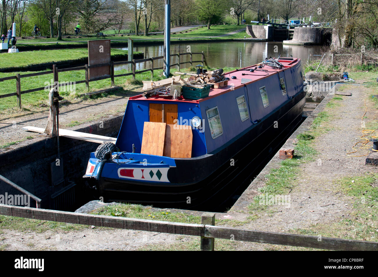 Narrowboat in a dry dock - Stock Image
