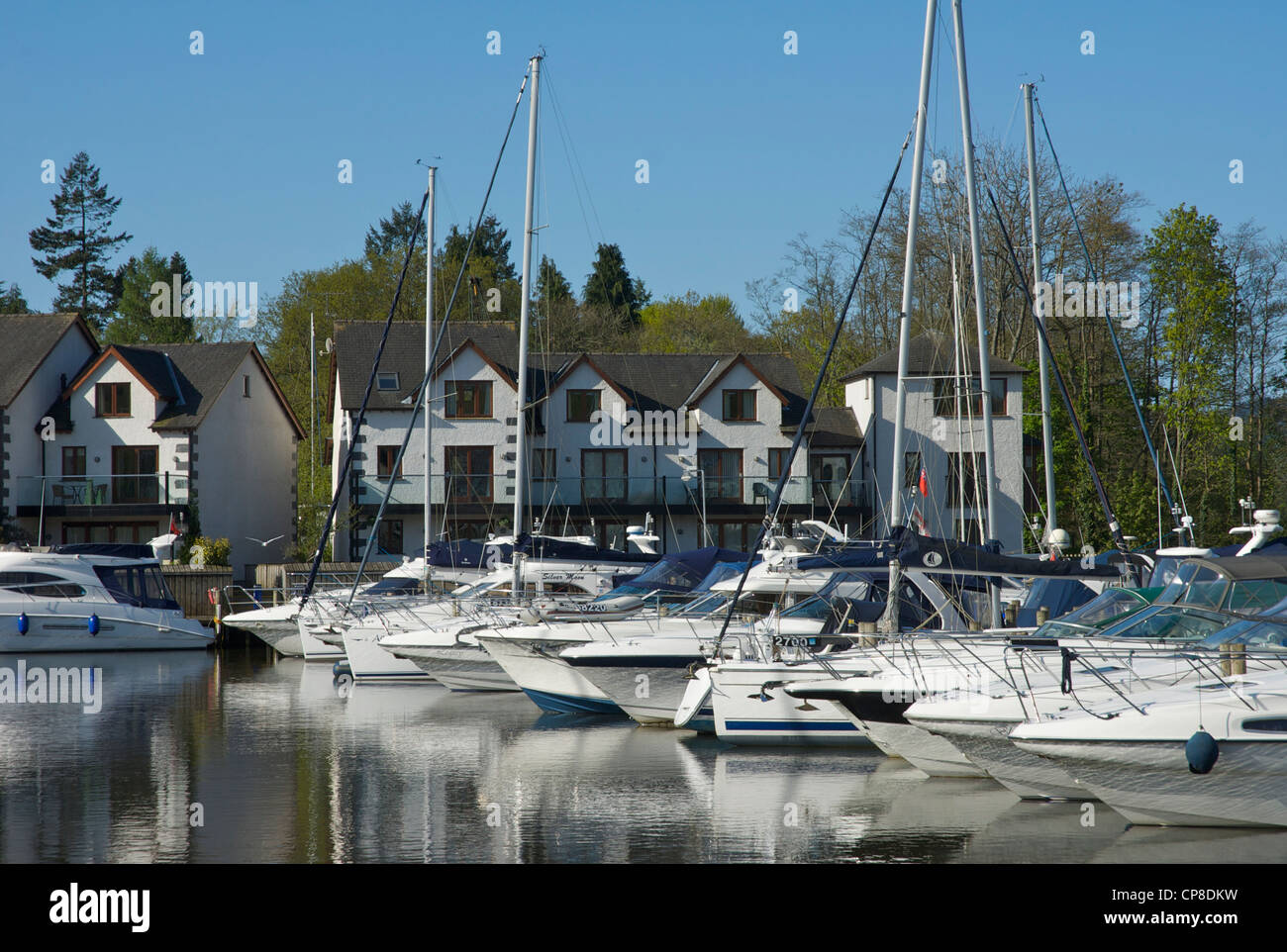 Boats moored in the Windermere Marina, near Bowness, Lake District National Park, Cumbria, England UK Stock Photo