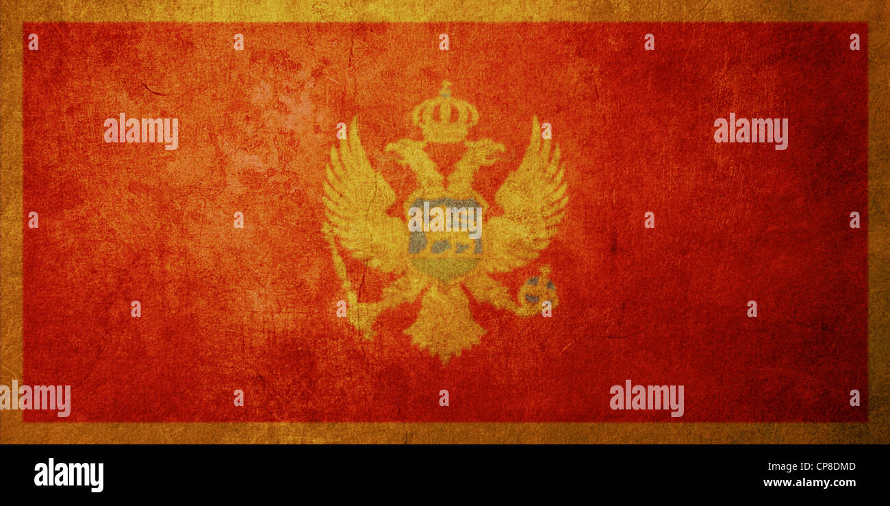 montenegro flag with old texture grunge and vintage Stock Photo