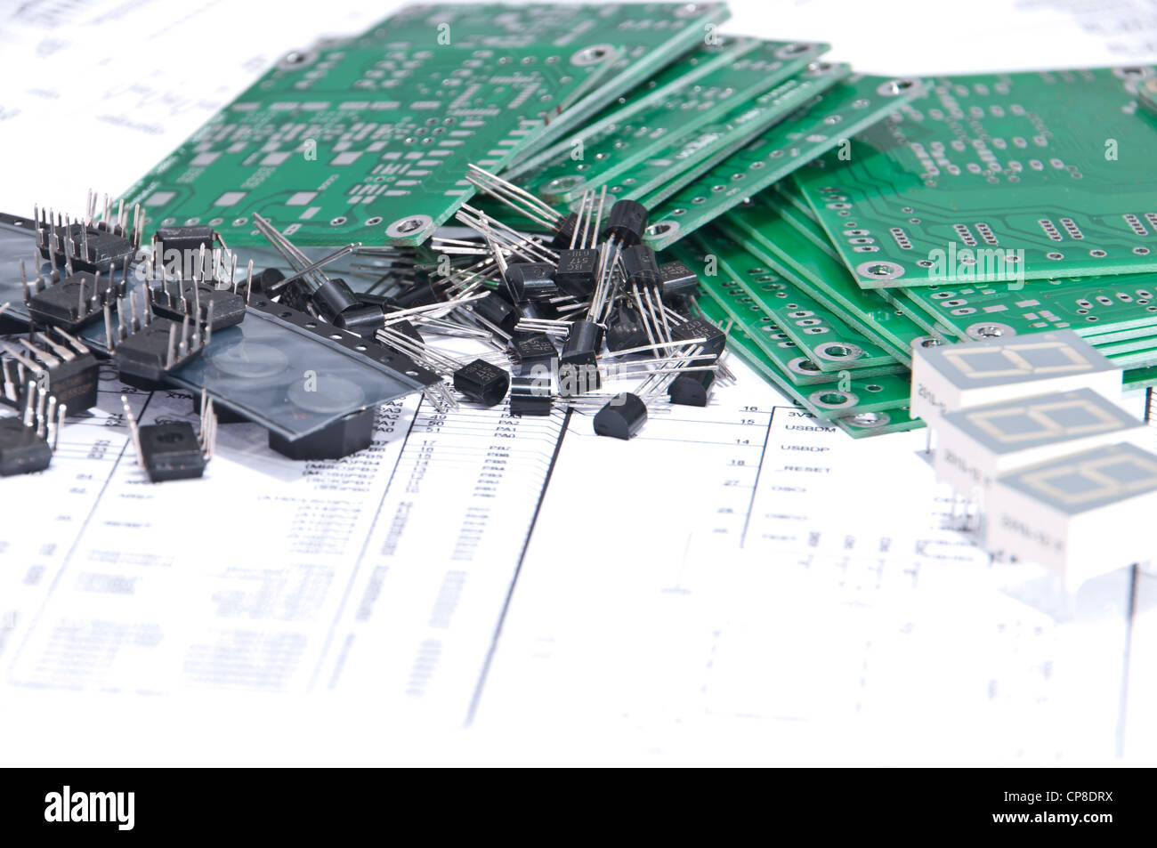 Circuit Boards And Electronic Components With Schematics In