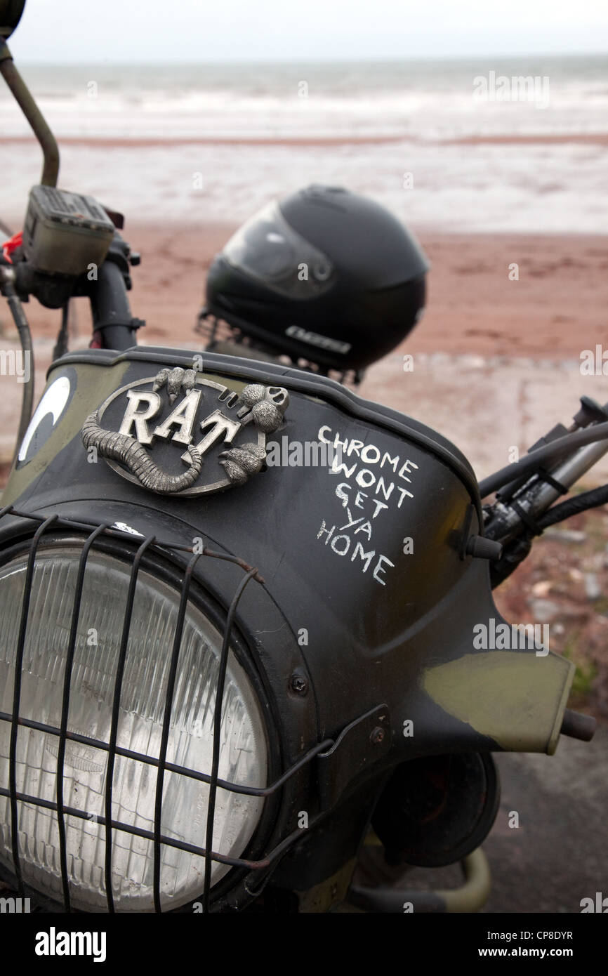 A rough and ready 'Rat Bike' parked on Paignton pier as part of the annual festival to raise money for local - Stock Image