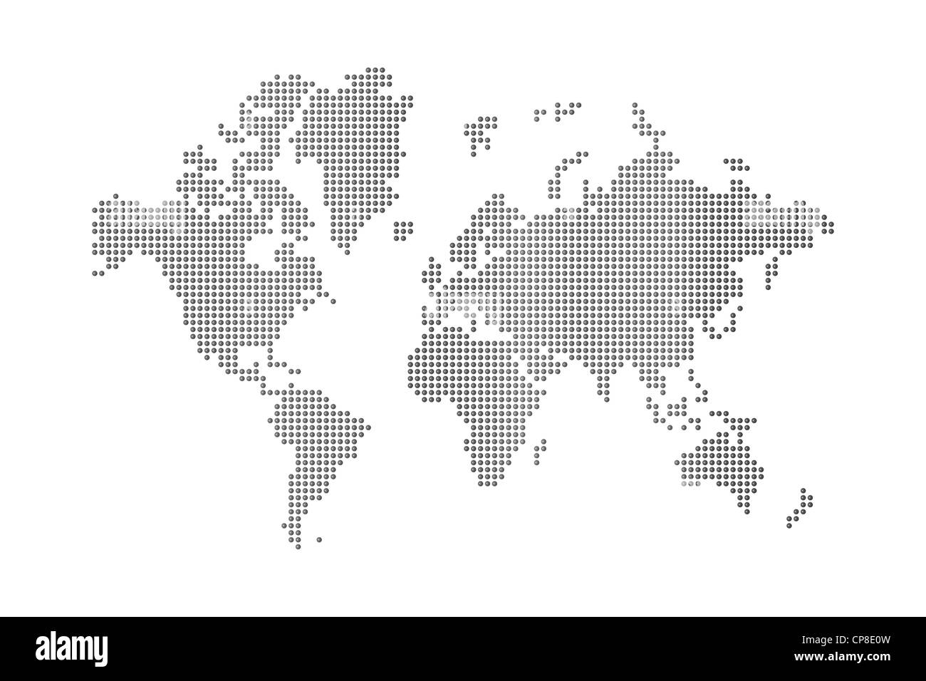 Dots world map on white background stock photo 48129785 alamy dots world map on white background gumiabroncs Gallery