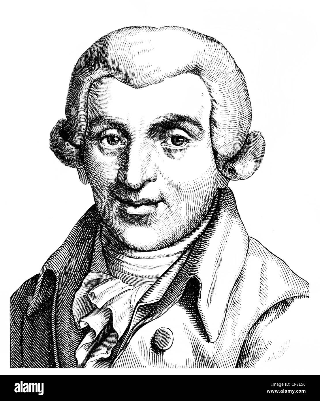 Johann Wilhelm Ludwig Gleim, 1719 - 1803, a German poet of the Enlightenment, Historische Zeichnung aus dem 19. - Stock Image