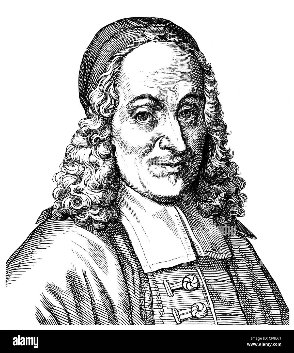 Philip Jacob Spener, 1685 - 1705, founder of Pietism, Historische Zeichnung aus dem 19. Jahrhundert, Portrait von - Stock Image