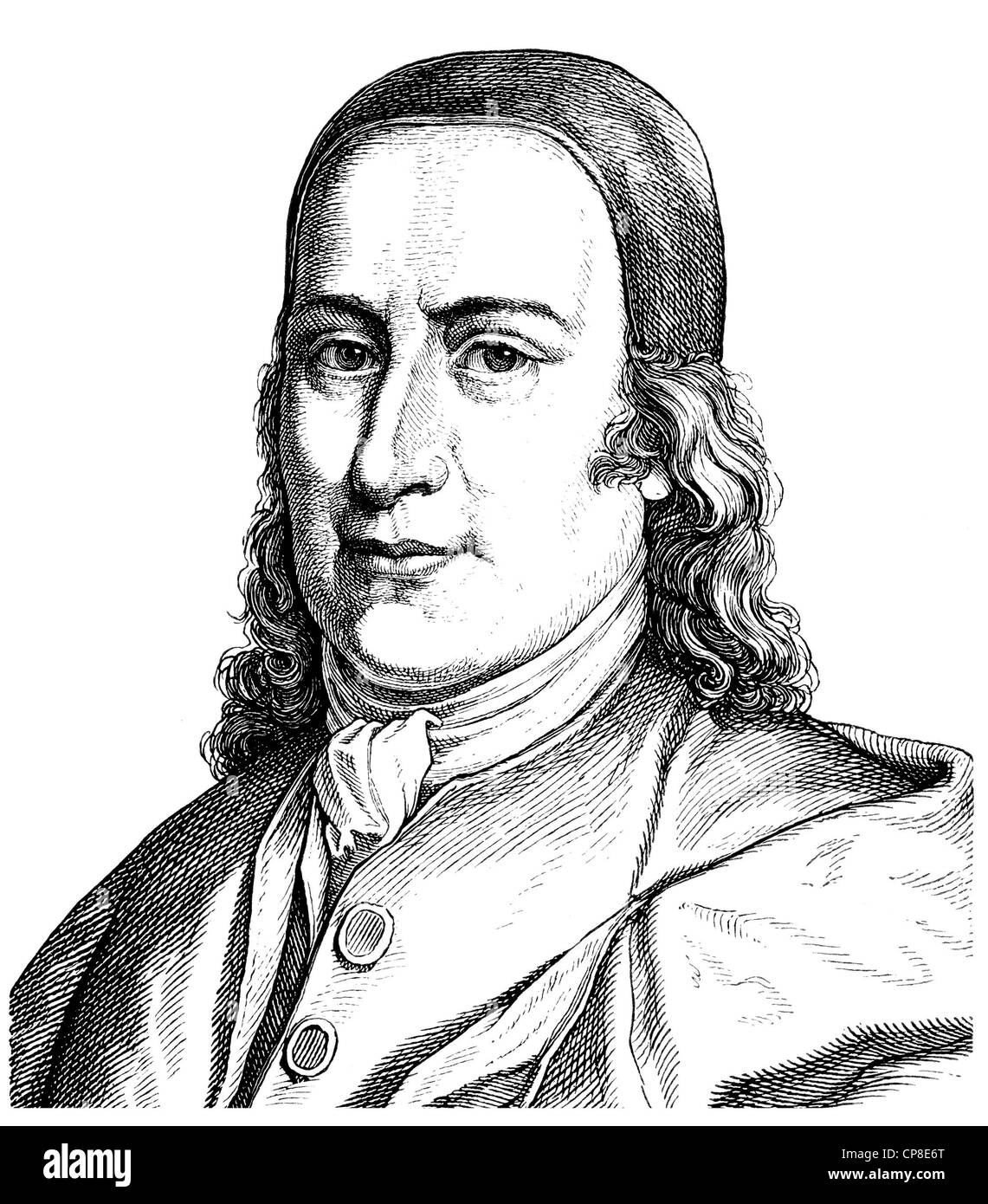 Count Nikolaus Ludwig von Zinzendorf and Pottendorf, 1700 - 1760, a Lutheran Pietist theologian, founder and bishop - Stock Image